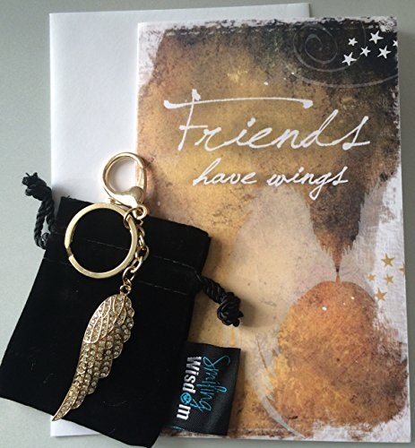 Smiling Wisdom - Friends Have Wings, They Lift Us to Our Feet When We are Down - Appreciation Thank You Greeting Card - Friendship - Angel Wing Key Chain Ring – 2.5 x .6