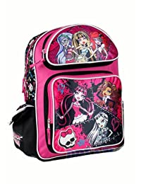 Full Size Pink and Black Pins and Skulls Monster High Backpack - Monster High...