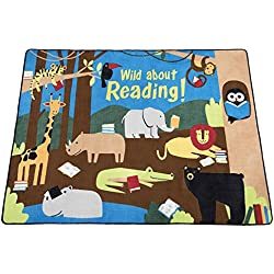 "Guidecraft Wild About Reading Carpet Large - Children's Classroom Educational Rug, Animal Jungle Themed Soft Rug for Kids Room - Size 7'8"" X 10'9"""