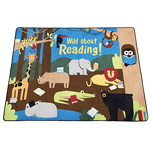 Guidecraft Wild About Reading Carpet Large - Children's Classroom Educational Rug, Animal Jungle Themed Soft Rug for Kids Room - Size 7'8