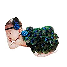 0-1 Year Old Baby Newborn Girls Boys Costume Baby Girl Headband With Peacock Feather Wing Costume Photo Prop Outfit