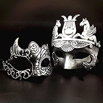 Silver / Black Glitter Women Mask & Silver Roman Warrior Men Mask Venetian Couple Masks For