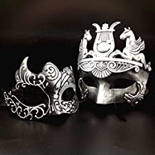 Silver / Black Glitter Women Mask & Silver Roman Warrior Men Mask Venetian Couple Masks For Masquerade / Party / Ball Prom / Mardi Gras / Wedding / Wall Decoration