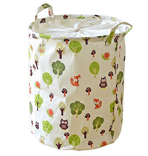 Kimjun Multifunktionale Household Stoff Leinen Wäschesammler Wäschebox Faltbare Wäschekörbe Kinder Spielzeug Aufbewahrungskorb Aufbewahrungsbox Tiere + Bäume