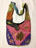 Hobo Bohemian Hippie Ripped Razor Cut Gypsy Embroidery Flower Print Shoulder Sling Crossbody Cotton Handmade Purse Monk Bag Nepal, Bags Central