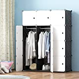 MEGAFUTURE Modern Portable closet for Hanging Clothes, Combination Armoire, Modular Cabinet for Space Saving, Ideal Storage Organizer (12 Cubes&2 Hangers)