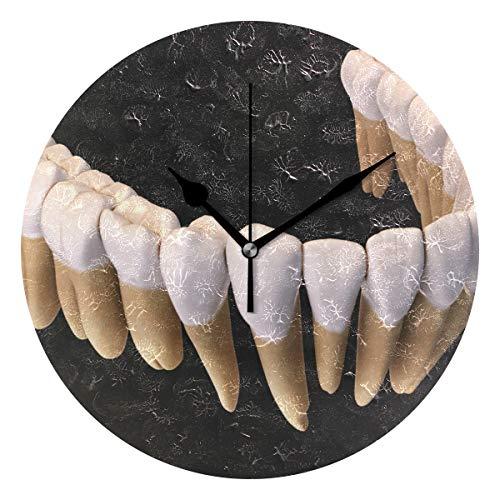 Betty Boop Round Glass - Ladninag Wall Clock Teeth Lower Gum Silent Non Ticking Decorative Round Digital Clocks Indoor Outdoor Kitchen Bedroom Living Room