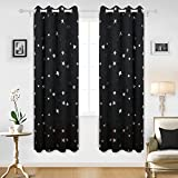 thermal curtains 84 pattern - Deconovo Solid Thermal Insulated Blackout Curtains for Nursery with Silver Star Pattern 52 By 84 Inch Black 1 Pair