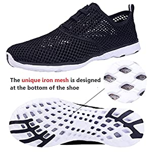 Water Shoes for Men Quick Drying Aqua Shoes Beach Pool Shoes Mesh Slip On (Black)