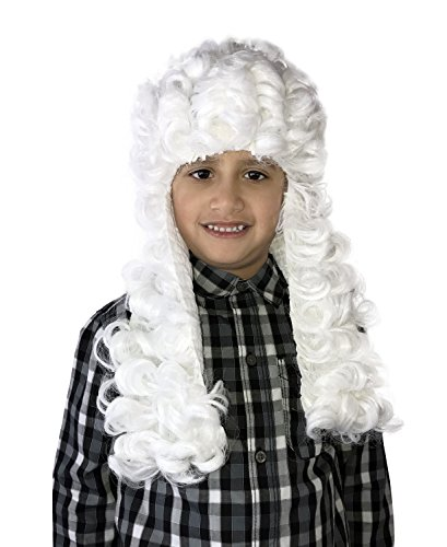 KINREX Colonial Wig - Historical Wig - White Judge Wig - Adults and Teens