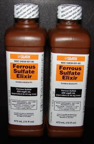 Ferrous Sulfate Elixir 220mg/5mL 16oz Bottle - 4 Pack ()