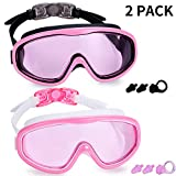 Kabuda 2 Pack Swim Goggles, Swimming Glasses for Adult Men Women Youth, No Leaking Anti Fog UV 400 Protection Waterproof 180 Degree Wide Clear Vision Triathlon Pool (Set of 2)