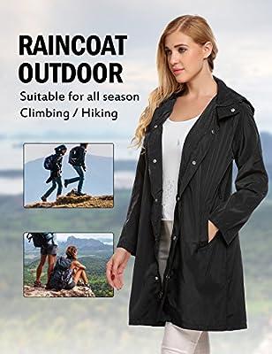 ELESOL Rain Jacket Women Waterproof Lightweight Raincoat Outdoor Windbreaker