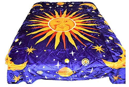 tion Outerspace Cosmo Sun Moon Stars Blue Luxury Super Soft Medium Weight Queen Size Mink Blanket 1ply ()