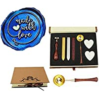 MNYR Made with Love Heart Wax Seal Sealing Stamp Kit Monogram Melting Spoon Candle Sealing Wax Box Kit for Mother…