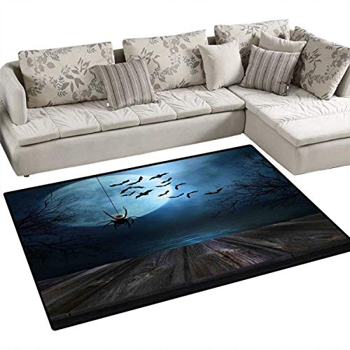 (Halloween Area Rugs for Bedroom Misty Lake Scene Rusty Wooden Deck Spider Eyeball and Bats with Ominous Skyline Door Mats for Inside Non Slip Backing 55
