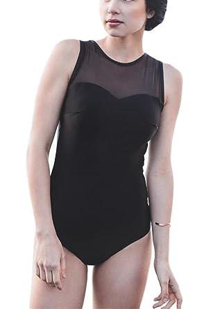 83add2792d6 Women s Sexy Black Mesh Sweetheart One Piece Swimsuit