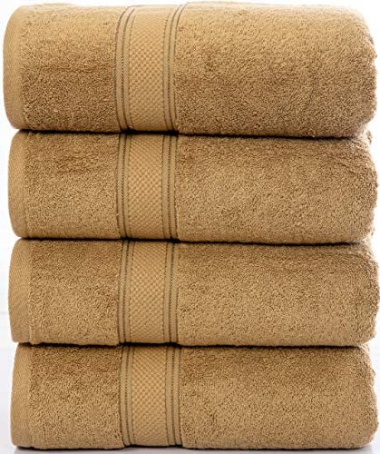 Bliss Casa Luxury Bath Towels High GSM Towel Set (4 Pack) 100% Ring Spun Cotton Quick Dry & Highly Absorbent Perfect for Daily Use (Beige)