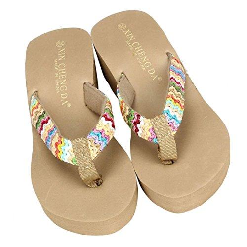 wear Flat Flops paja Platform Mujeres to Sandals Wedge Flip Comfortable Slippers color de Lady Beach SKY it Sandalias de Patch Caqui 0qEOvWwT