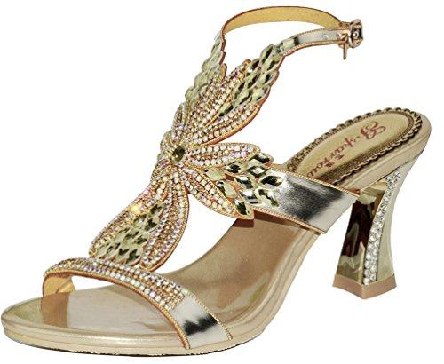 Abby Womens Wedding Party Show Work Comfort Mid Heel Micro-fiber Sandals Gold