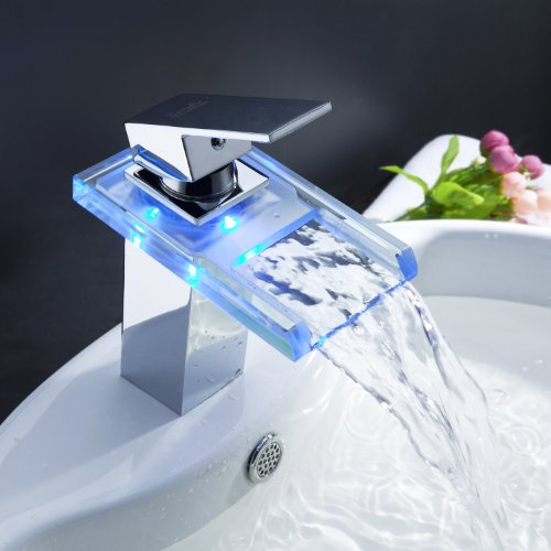 high-quality Sprinkle by Lightinthebox - Color Changing LED Waterfall Bathroom vessel sink tub basin Faucet
