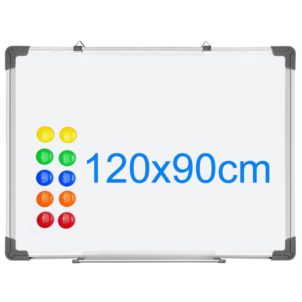 Con Cornice In Alluminio SIENOC Lavagna Magnetica Bianca Superficie in tinplate e retro in zinco con 12 magneti,120x90cm
