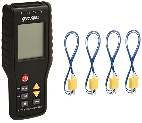 PerfectPrime TC41, 4-Channel K-Type Digital Thermometer Thermocouple Sensor -200~1372°C/2501°F, 20 x 4 Data Log Storage Function