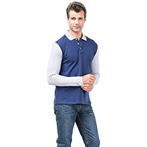 Sansi Mens Polo Shirt Long Sleeve Collared Lapel Casual Jersey T-Shirt
