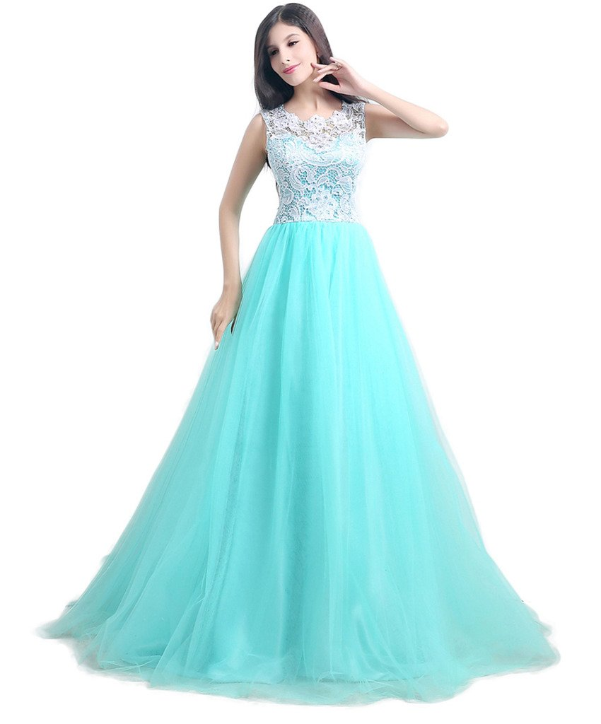 Ikerenwedding Women's A-line Lace Applique Bodice Sheer Long Prom Dresses Evening Gown Green US16