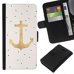 KLONGSHOP // Tirón de la caja Cartera de cuero con ranuras para tarjetas - Dot ancla del oro Marinero Capitán - Sony Xperia M2 //