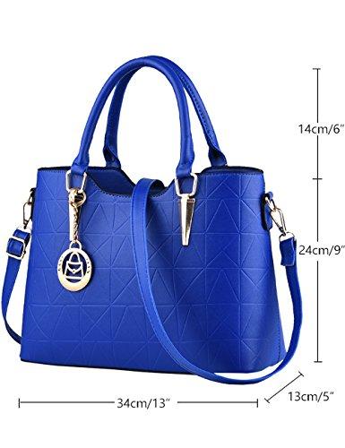 lucida PU Avorio Bag Blu tracolla CUKKE Tote borsa nuove a Cielo Leather signore vwxWCItB