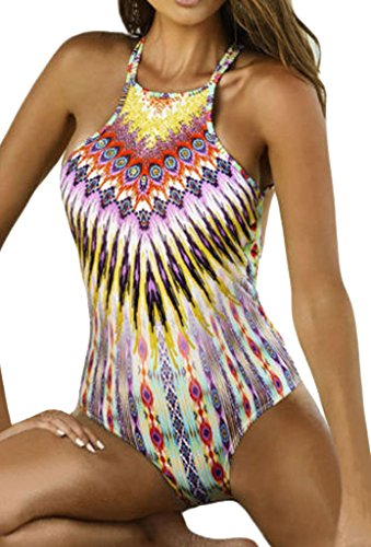 ZKESS Womens Criss Cross Back Print Beachwear One Piece Bikini Swimsuit(FBA) Multicoloured Medium Size