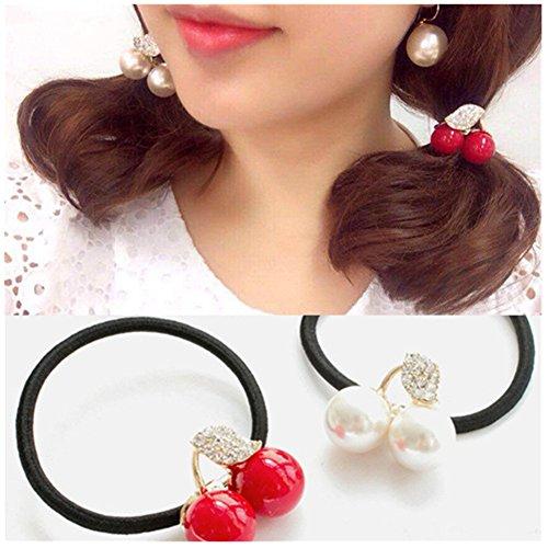 (Casualfashion 6Pcs Korean Fashion Hair Rope Cute Crystal Rhinestone Cherry Hair Rings for Women Girls Ponytail Holder)