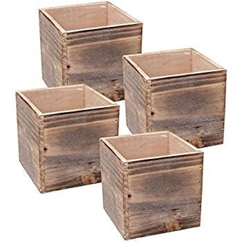 Wood Planter Box Set Rustic Whitewash Plastic Liners 5 Inch Square Flower Holder