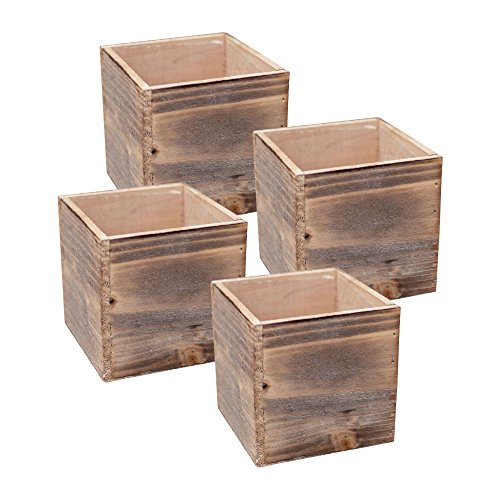 Wood Planter Box Set, Rustic Whitewash, Plastic Liners, 5 Inch Square Flower Holder, Natural Barn Wood Decor, Country Style, Home and Wedding Decorations, Garden Ornaments, (Beige Brown) (Set of 4)