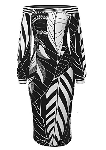 Coolred-femmes Taille Empire Imprimé À Manches Longues Bustier Robe Tunique Haut Noir