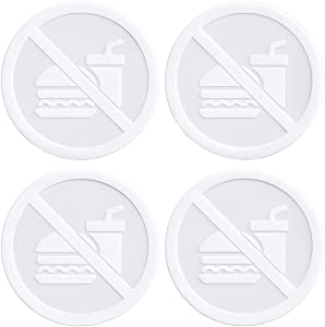 dealzEpic - Clear Transparent White No Food or Drink Allowed Sign - Self Adhesive Peel and Stick Vinyl Decal for Glass Door or Window - 3.5 inches in Diameter | Pack of 4 Pcs