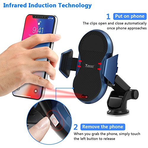 Wireless Car Charger, Automatic Qi Wireless Dashboard Car Mount Wireless Charger Phone Holder 7.5W for iPhone X/8/8 Plus, 10W for Samsung Galaxy S9/S9+/Note 8/S8/S8 Plus, 5W for All QI standard Device by TopMoon (Image #1)