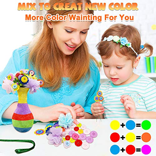 Motiloo❀Create Your Own Vase and Felt Flower Set, Fun Kids Crafts Arts,DIY Set Craft Vase Snowflake Mud Button Toy Party Activity Children Age 4 5 6 7 8 9 10 Years Old Birthday Gift (Rainbow)