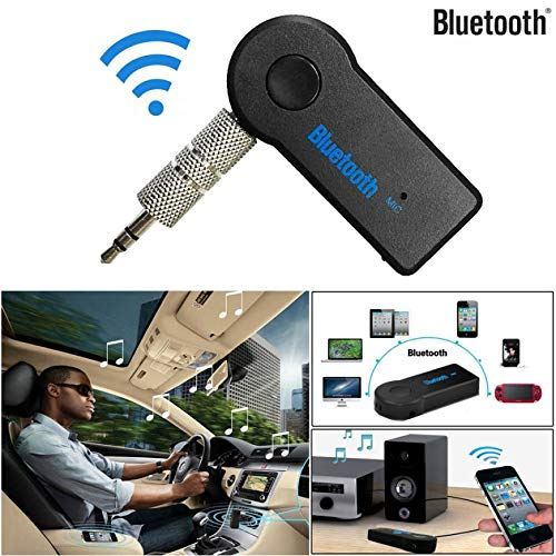 Aobiny Car Bluetooth Transmitter, Portable Wireless Audio Adapter 3.5mm Aux Stereo Output (Bluetooth v3.0+EDR, A2DP, Built-in Microphone) for Home Audio Music Streaming Sound System (Black)