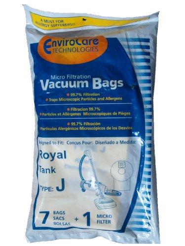 (7 Royal Tank Type J Allergy Vacuum Bags + 1 Filter, Dirt Devil, Metal Tanks, Pony Tank Vacuum Cleaners, 3-040447-001, 401, 666, 501, 4150, 4250,4100-4600)