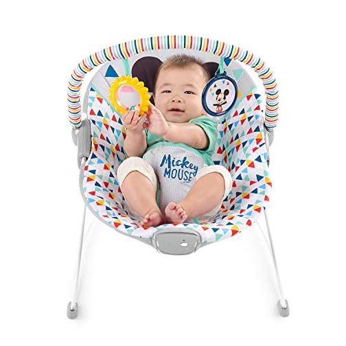 Disney Mickey Mouse Happy Triangles Cradling Bouncer with Soothing Vibration