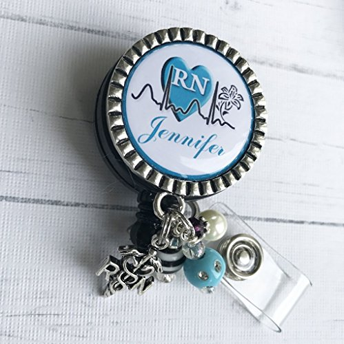 Personalized RN Nurse ID Badge Reel, Blue Nurse Gift, LPN BSN Custom RN Retractable ID holder, Nurse Name - Personalized Badge Reels