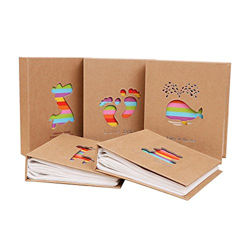 Zhi Jin Hollow Kraft Photo Album Slip In Hold 100 Pockets 7x5 inch Picture Anniversary Albums Memory Collection Gift, Feet Animals Baby Photo Album
