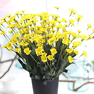 Xindda Artificial Silk Fake Flowers Small Daisy Wedding Bouquet Party Yellow, for Home Decor DIY Wedding Bouquets Centerpieces Bridal Shower Party Floral Home Decorations, Ship from USA 8