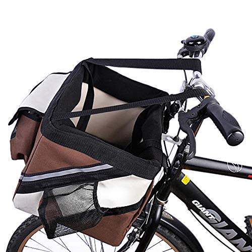 Samber Pet Carrier Bicycle Basket Bag Dogs & Cats Travel Safety Belt Front Bicycle Carrier Pet Carrier Bicycle Basket Bag Pet Carrier Bottle Pocket Safe Reflectiv Stripes (Brown)