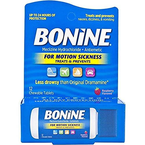 Bonine TRAVEL PACKET DISPENSER 12 Chewable Raspberyy Tablets Traveling Packet (1)