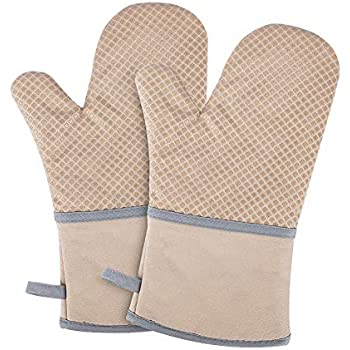 Kitchen Oven Mitts, Echeer Cooking Mitts Pot Holders Heat Resistant Kitchen Potholders Bake Gloves, 1 Pair