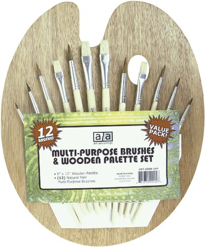 Price comparison product image Art Advantage Wood Palette with 12 Brushes