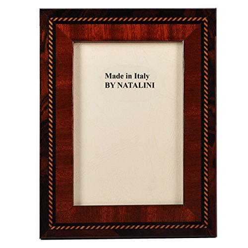 Beautiful and Elegant Carefully Hand Crafted Natalini Italian Wood Picture Frame Boer Mogano Noce Design Mahogany Walnut with Intricate Detail Made in Italy hand Made From Wood Veneer and Soft Velvet Backing Stylish and Posh Comes in a Window Type Gift Box (4